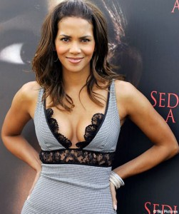 halle berry grey lace dress press photo