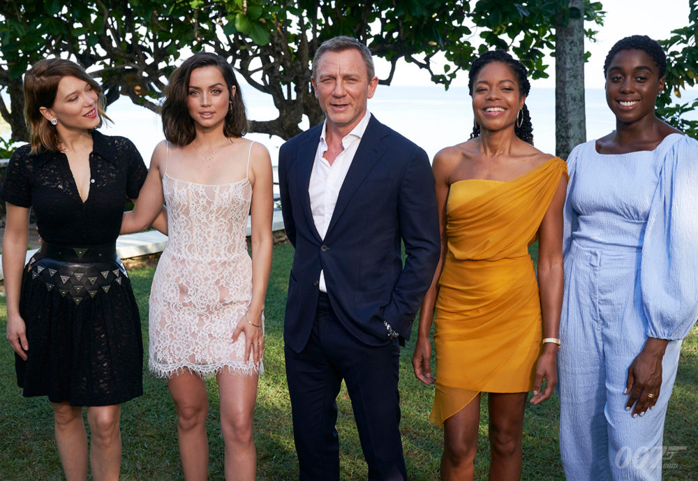 Bond 25 cast members: Léa Seydoux, Ana de Armas, Daniel Craig, Naomie Harris, and Lashana Lynch