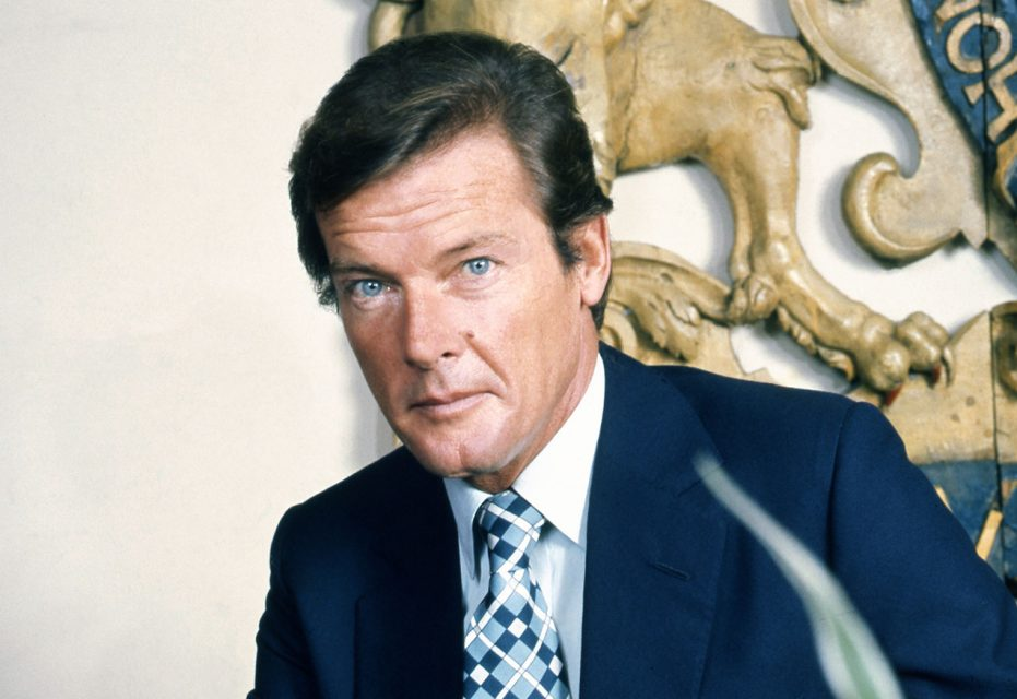 Sir Roger Moore by Allan Warren (cropped image)