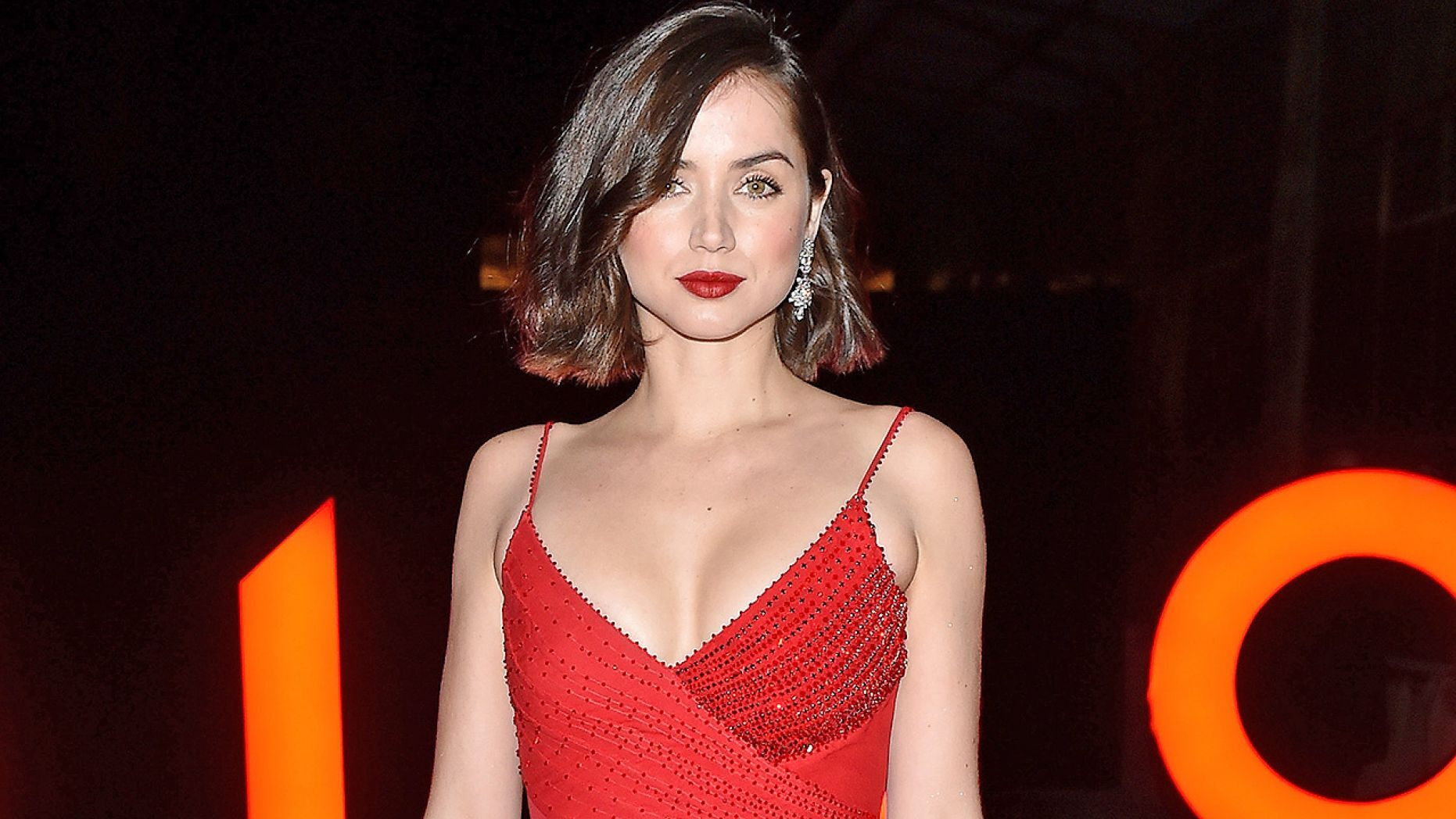 Ana de Armas red dress Getty